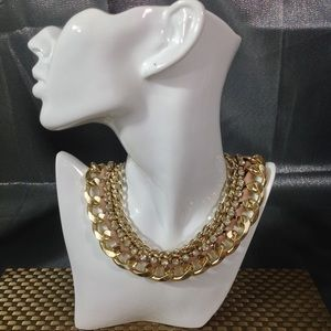 VINTAGE LARGE LINK RHINESTONE RIBBON NECKLACE